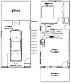 16x36 House 1 Bedroom Pdf Floor Plan 744 Sq Ft Model 10a Ebay Tiny House Floor Plans House Plans Garage Apartment Plans