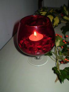 Vintage Danish red brandy glass Christmas t-lite holder