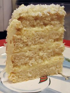 Coconut cream cake with a coconut custard filling. I am making this for the bday cake