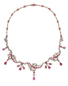 A Belle Epoque silver-topped gold, ruby and diamond necklace, circa Ruby And Diamond Necklace, Ruby Necklace, Pendant Necklace, Antique Jewelry, Vintage Jewelry, Jewelery, Jewelry Necklaces, Royal Jewelry, Jewel Box