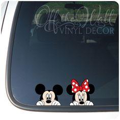 "Mickey and Minnie Mouse Disney ""Peeking"" Color Vinyl Car Decal #OfftheWallVinylDecor #CarTruckDecal"