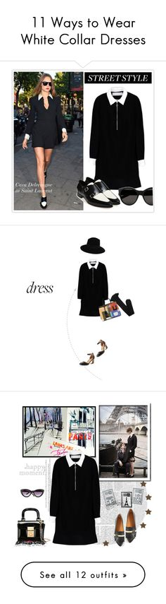 """""""11 Ways to Wear White Collar Dresses"""" by polyvore-editorial ❤ liked on Polyvore featuring waystowear, whitecollardress, Victoria, Victoria Beckham, Jimmy Choo, Yves Saint Laurent, Calvin Klein, Maison Michel, dresses, black and black flared dress"""