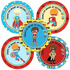 Superhero Teen Boy Thank You Sticker Labels - Birthday Party Favor Labels - Set of 30    We created Superhero stickers for little boys a while back and here are new designs for older kids. 5 different designs in each set.