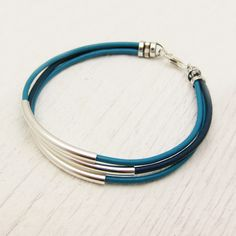 Turquoise Aqua Blue Leather & Sterling Silver Bracelet