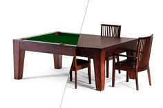Spencer Marston Hawthorne Dining Pool Table at PoolTablesDirect.com. Dining top table with a 100% hardwood professional grade pool table underneath. Versatile in any home #billiards #pooltables #gameroom