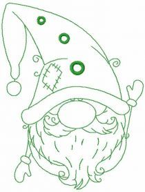 Green Christmas dwarf free embroidery design