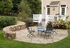 patio & deck .......love the stone wall