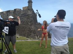 The New York Jets New York Jets Flight Crew on location at the San Cristobal Fort in San Juan during their swimsuit calendar shoot!