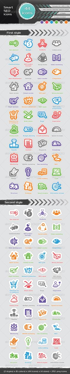 Smart SEO Icons  #GraphicRiver         A set of various 44 seo icons designed to be simple and intuitive. Included:   - Fully editable .ai, .eps files. .ai file is fully sliced. It's give you opportunity save all icons changes per one click - 44×4 x 6×2 = 2112 .png files by 4 different sizes (512×512 px, 256×256 px , 128×128 px, 64×64 px), 6 different colors and 2 styles - 100% resizable  very easy colors change.   Use these icons in your Web applications to make them more attractive.  …