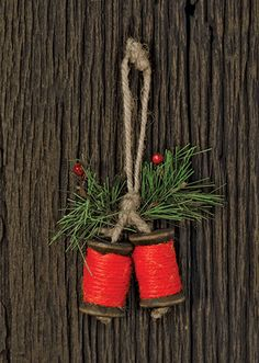 X2 $ 3.99 KP Creek Gifts - Jute Spool Ornament, Red