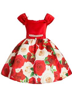 In Stock:Ship in 48 Hours Red Satin Print Flower Girl Dress With Pearls Girls Formal Dresses, Girls Party Dress, Toddler Girl Dresses, Little Girl Dresses, Cute Dresses, Flower Girl Dresses, Girls Dresses Sewing, Party Dresses, Dress For Girl Child