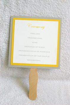 6 x 6 Paddle Fan Wedding Program. $2.50, via Etsy.