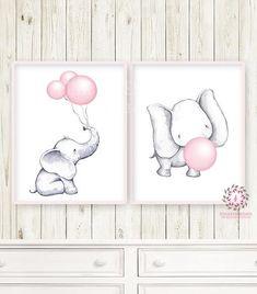 Baby Nursery Ideas Elephant Canvases Ideas For 2019 Elephant Themed Nursery, Baby Girl Elephant, Elephant Canvas, Giraffe Nursery, Baby Room Paintings, Baby Painting, Kids Wall Decor, Baby Decor, Room Decor