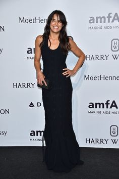 Pin for Later: The Stars Are Looking Quite Stylish Over in Milan Michelle Rodriguez Casual, but elegant nonetheless — that's how we would describe this black gown.