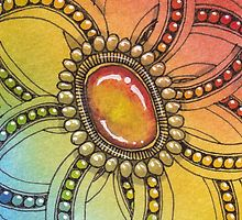 Zentangle Inspired Art Flower and gem rainbow by deliaknapman
