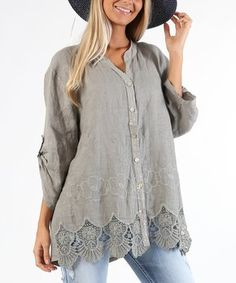 Gray Layered Floral Linen Button-Up Top - Plus Too