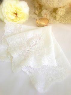 Vintage Hankie Beautiful Wedding White Bride's by LollysCubbyHole