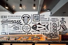 29 Most Popular Ideas for wall graphics restaurant typography Environmental Graphic Design, Environmental Graphics, Office Wall Graphics, Office Mural, Office Walls, Cafe Wall, Removable Wall Murals, Deco Originale, Mural Wall Art