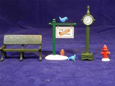 VTG Dept 56 Village Accessories: For Sale Sign Park Bench Town Clock Hydrant / $10