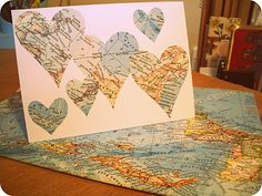 I made this special greeting card with an old map! I loooove old maps and I have a pile of them, but this is the first time I've ac. Housewarming Card, Paper Crafts, Diy Crafts, Old Maps, Map Art, Save The Date, House Warming, Decoupage, Vintage World Maps