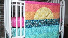 Baby Bedding, 3-piece, Minky Dot crib quilt, ruffled skirt and fitted sheet, Sunset, fresh modern handmade, PLUSH for baby