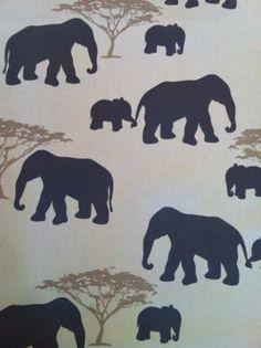 Elephant White Grey Beige Print Curtain Furnishing Fabric Per Metre