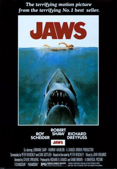 Jaws is a thriller about a giant great white shark that has been attacking tourists and residents of Amity Island. The film was directed by Steven Spielberg and stars, Roy Scheider, Robert Shaw and Richard Dreyfuss. Film Movie, Jaws Film, Jaws Movie Poster, Poster A3, Iconic Movie Posters, Iconic Movies, Film Posters, Great Movies, Poster Prints