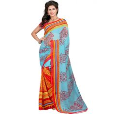 Amiable Multi Color Faux Georgette Printed Saree at just Rs.430/- on www.vendorvilla.com. Cash on Delivery, Easy Returns, Lowest Price.