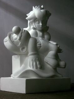 "Game Over (2008) is a sculpture by Polish artist Kordian Lewandowski. It's carved in a ""block of Carrara styrofoam"" and presents the dying Mario in the arms of princess Peach."