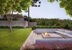 Garden Fire Pit, Fire Pit Backyard, Backyard Patio, Modern Backyard, Modern Outdoor Living, Modern Outdoor Fireplace, Modern Landscape Design, Modern Landscaping, Outdoor Landscaping