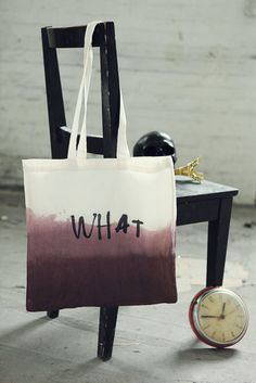 Dark Brown Hand Dip Dyed and lettered Cotton Bag by Even And Odd Shop $37.61