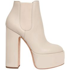Laurence Dacade Women 150mm Laurence Leather Ankle Boots (€430) ❤ liked on Polyvore featuring shoes, boots, ankle booties, heels, off white, leather high heel boots, heeled boots, short leather boots, heeled booties and short boots