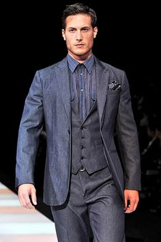 Giorgio Armani men suits 2011 design...I don't like the dress shirt...maybe just a plain white would help showcase the suit even better