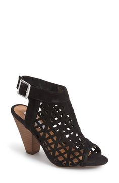 Free shipping and returns on Steve Madden 'Karridi' Cutout Suede Bootie (Women) at Nordstrom.com. An airy suede bootie is peppered with geometric perforations and styled with an open toe and back. An angular stacked heel echoes the appealing geometry of the cutouts.