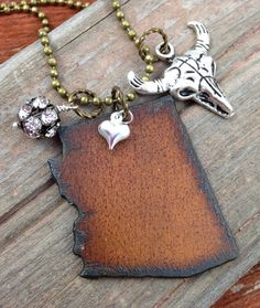I Love ARIZONA Necklace -  Rustic Recycled Metal State Shape with Route 66 or other Charm of Your Choice, Heart Charms | FREE SHIPPING | Use the coupon code PIN10 to get 10% off your entire order on DuctTapeAndDenim.etsy.com