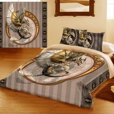 Anne Stokes Steampunk Dragon Double Duvet Set. Also available in King Size / Queen Size. From ANGEL CLOTHING - http://www.kinkyangel.co.uk/catalogue/duvet-covers-and-bedding