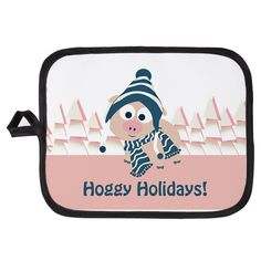 Hoggy holidays! Winter pig Potholder on CafePress.com