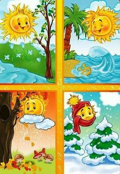TOUCH esta imagen: Seizoenen by Wampie Weather For Kids, Preschool Weather, Four Seasons Art, Seasons Of The Year, Seasons Activities, Preschool Activities, Classroom Board, Classroom Decor, Teaching Kids