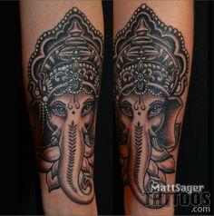 Ganesh elephant tattoo by Matt Sager - Denver Colorado Tank Tattoo, Denver Tattoo Artists, Ganesh Tattoo, Tattoos Gallery, Tatting, Piercings, Dream Wedding, Elephant, Ink
