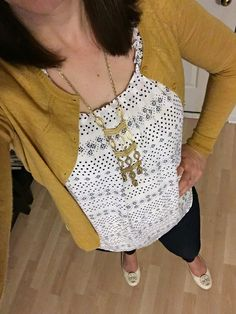 Mustard cardigan, cream and navy printed top, skinny jeans. Stella and Dot necklace, cream Tory Burch flats