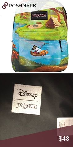 247b47b85ac Disney Mickey Pluto Fishing Jansport Backpack NWT