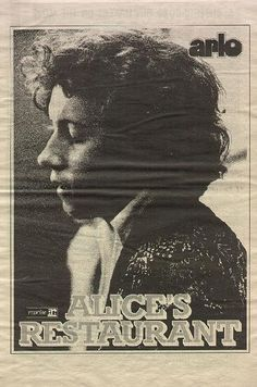 alice items | Arlo Guthrie Alice's Restaurant LP Promo Ad Poster 1967 Original ...