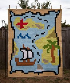 Pixelated world map quilt yellowspool yellow spool deception cove crib quilt from pixel play sample sale quilts gumiabroncs Gallery