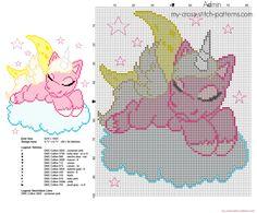 Unicorn sleeping on the clouds free cross stitch pattern
