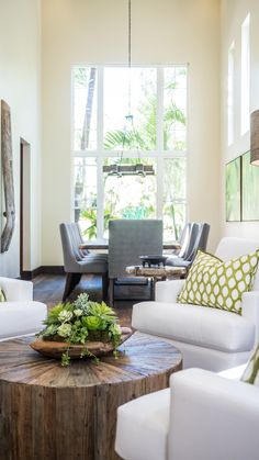 Modern Paradise - Kathy Ann Abell Interiors   San Diego, Califronia   Seating Area   Living room   Dining Room   Reclaimed Wood   Petrified Wood   Succulents