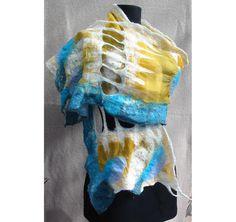 Felt String Scarf AU Wool ScarfNuno Felt Wrap by RumiWay on Etsy, $79.00