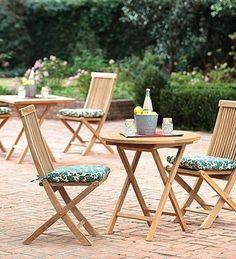 Plantation-Grown Solid Teak Outdoor Round Bistro Folding Table - Teak Patio Furniture World Teak Furniture, Furniture Ideas, White Furniture, Furniture Design, Furniture Outlet, Discount Furniture, Luxury Furniture, Outdoor Tables, Outdoor Decor