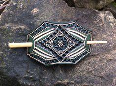 Green geometric hand carved leather hair barrette- hair accessories - Stick Barrette - Hair Slide - Haarspange aus Leder