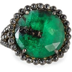 Bavna Round Emerald & Diamond Cocktail Ring ($1,365) ❤ liked on Polyvore featuring jewelry, rings, cabochon jewelry, cabochon ring, wide rings, floral ring and statement rings
