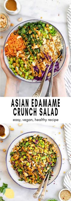 Need a quick and healthy lunch? This Asian peanut edamame salad is for you! This easy recipe is loaded with quinoa, edam Easy Meal Prep, Healthy Meal Prep, Healthy Salad Recipes, Easy Meals, Healthy Eating, Meal Prep Salads, Recipes With Quinoa, Quick Easy Healthy Dinner, Simple Vegan Meals